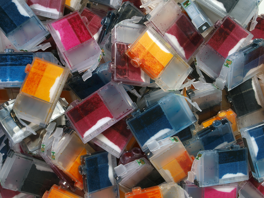 A pile of empty Ink Cartridges waiting for recycling.